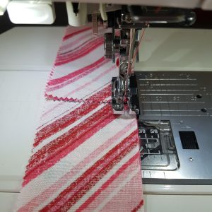 chain piecing the strips