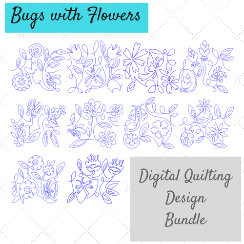 bugs with flowers digital quilting design bundle product image