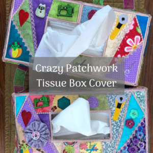 crazy patchwork tissue box cover product image