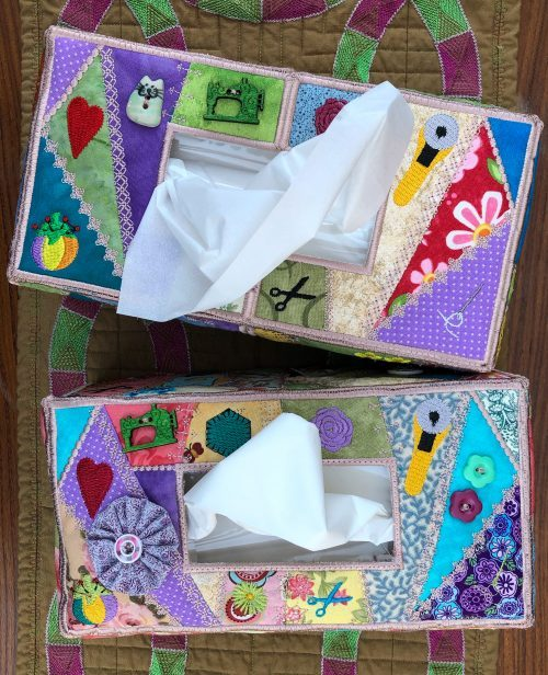 crazy patchwork tissue box cover top