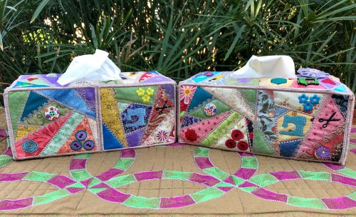 crazy patchwork tissue box cover long side panels