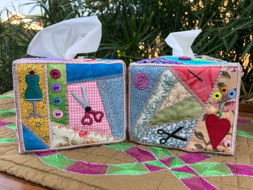 crazy patchwork tissue box cover side panels