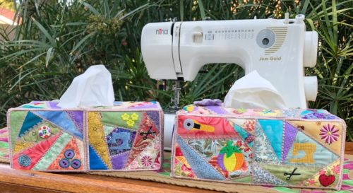 crazy patchwork tissue box cover product