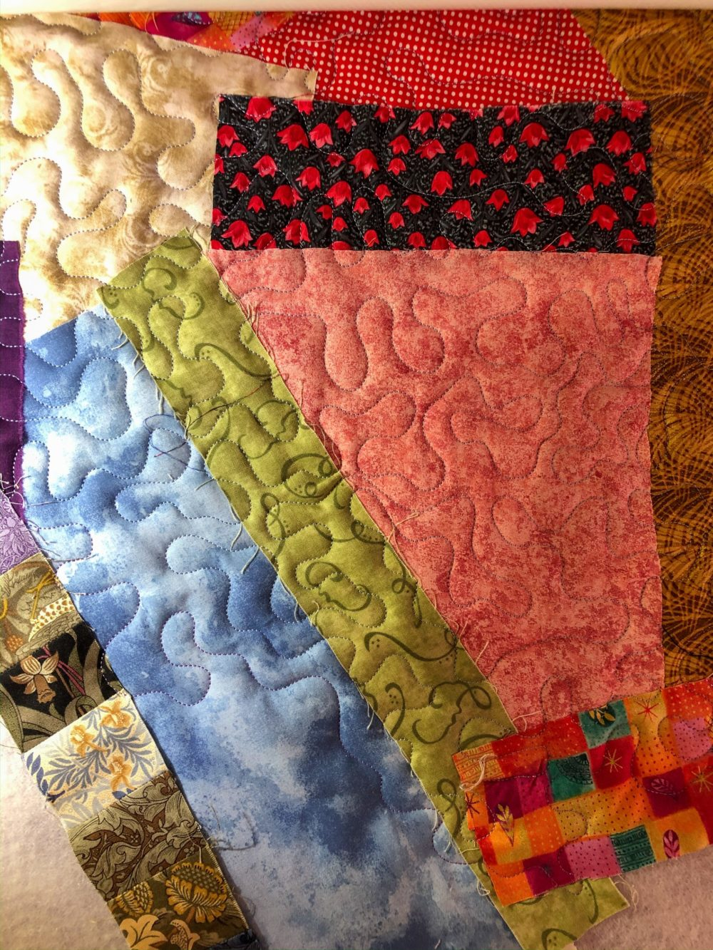 Fabric quilted all over, keeping raw edges