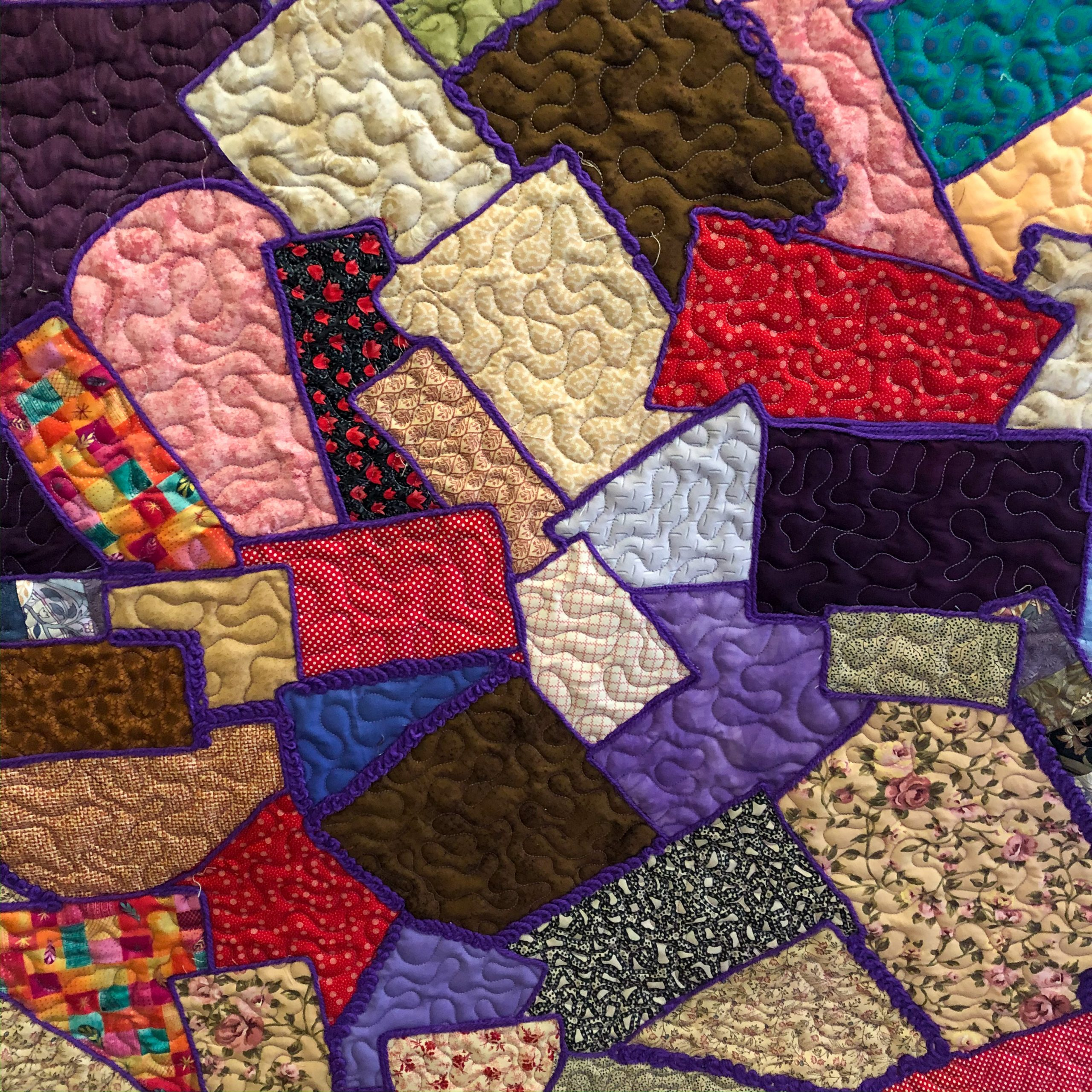 All over quilting and then couching added (this could also be done with lace, or satin ribbon)